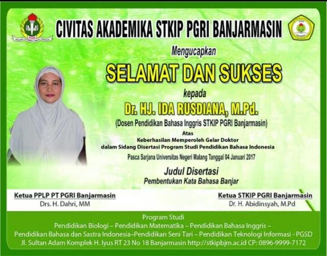 Selamat dan Sukses kepada Dr. Hj. Ida Rusdiana, M.Pd Atas Keberhasilan Memperoleh Gelar Doktor